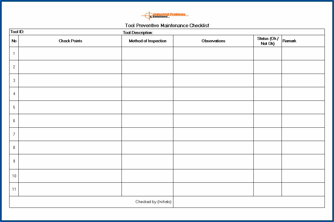 Preventive Maintenance Checklist Format