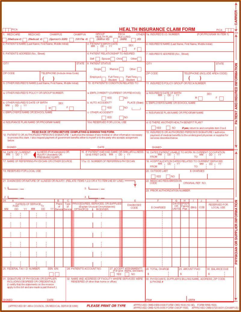 Printable 1500 Medical Claim Form