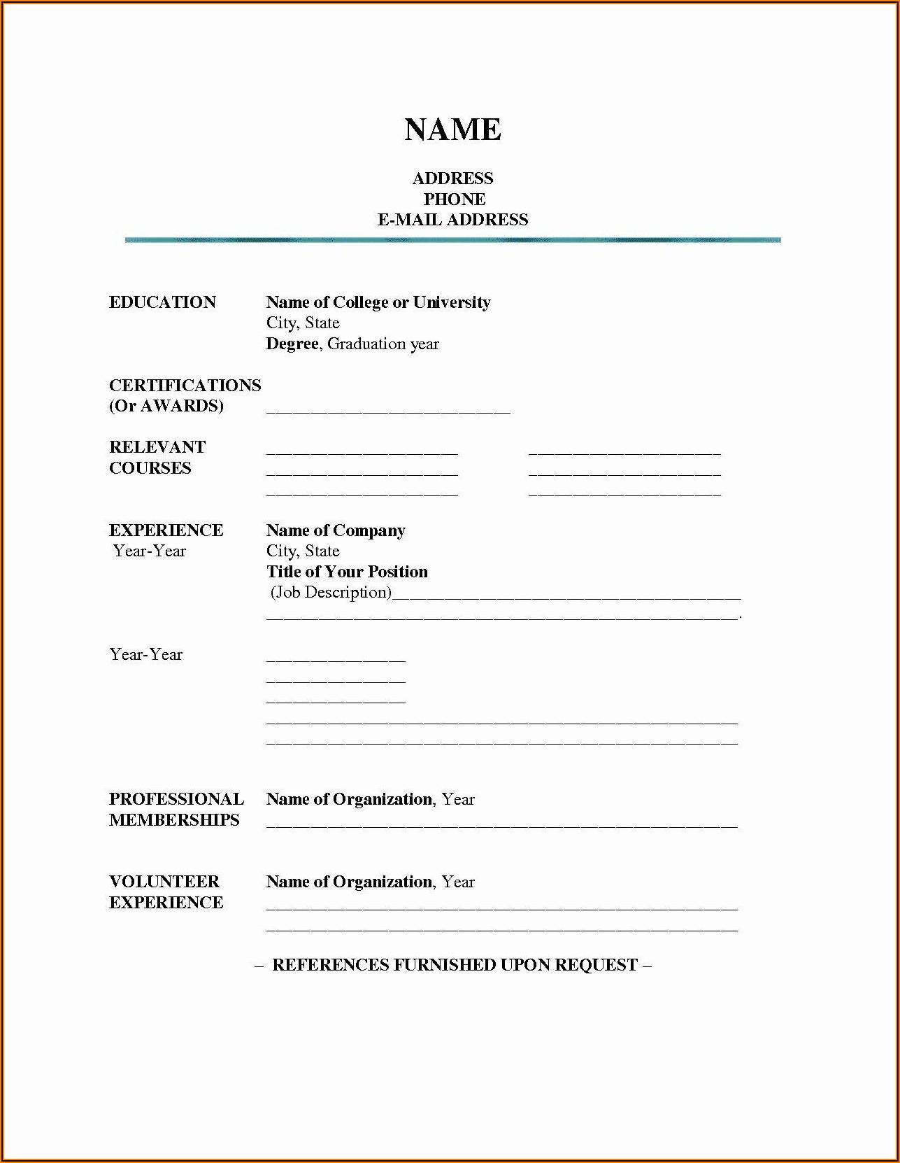 Printable Blank Resume Form For Job Application