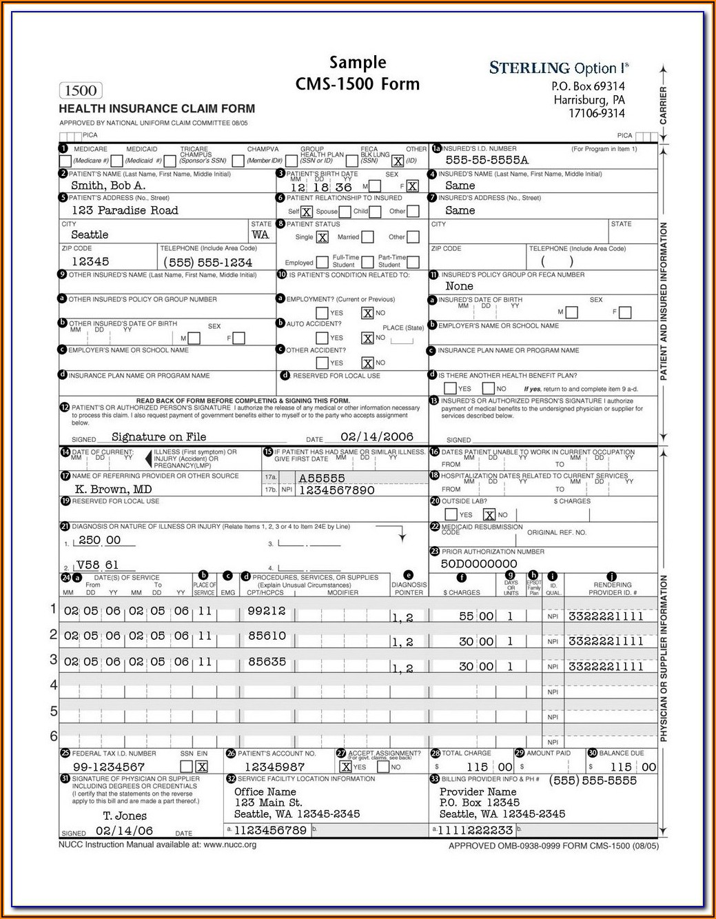 Printable Cms 1500 Claim Form