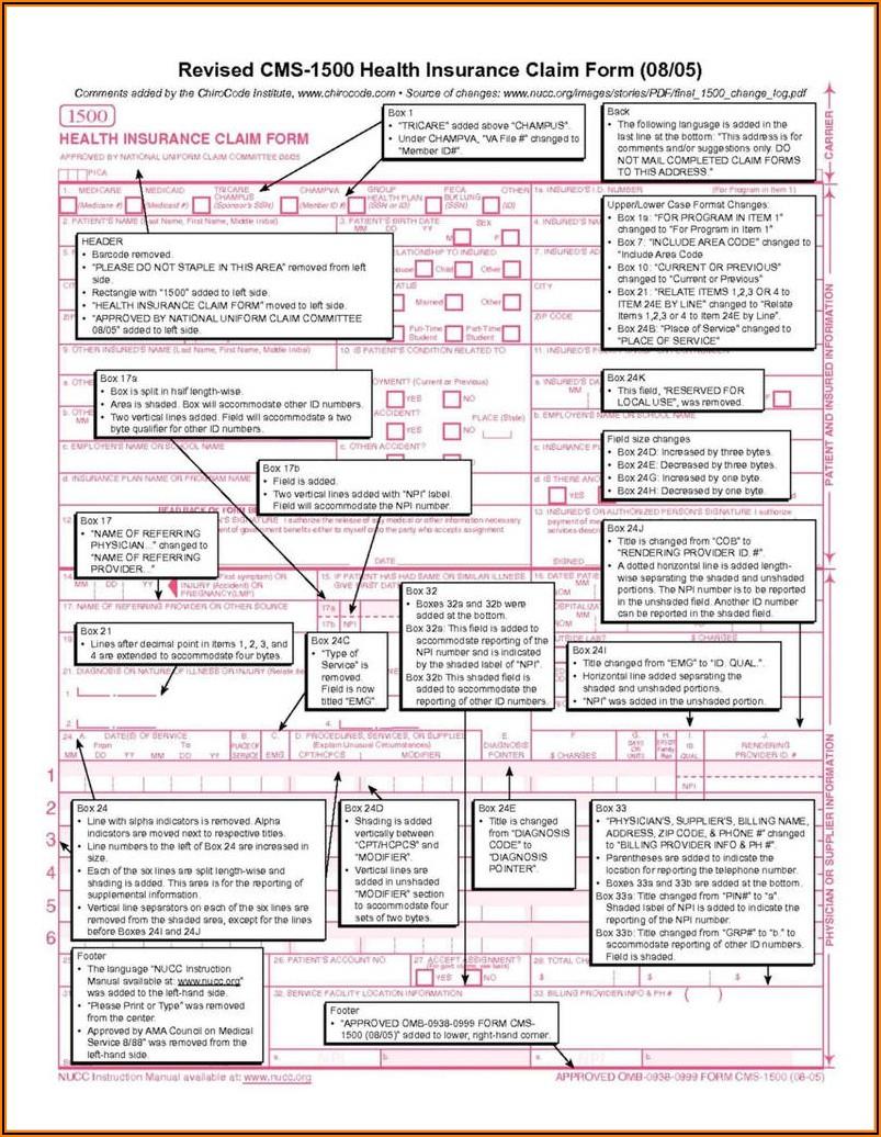 Printable Cms 1500 Form 0212