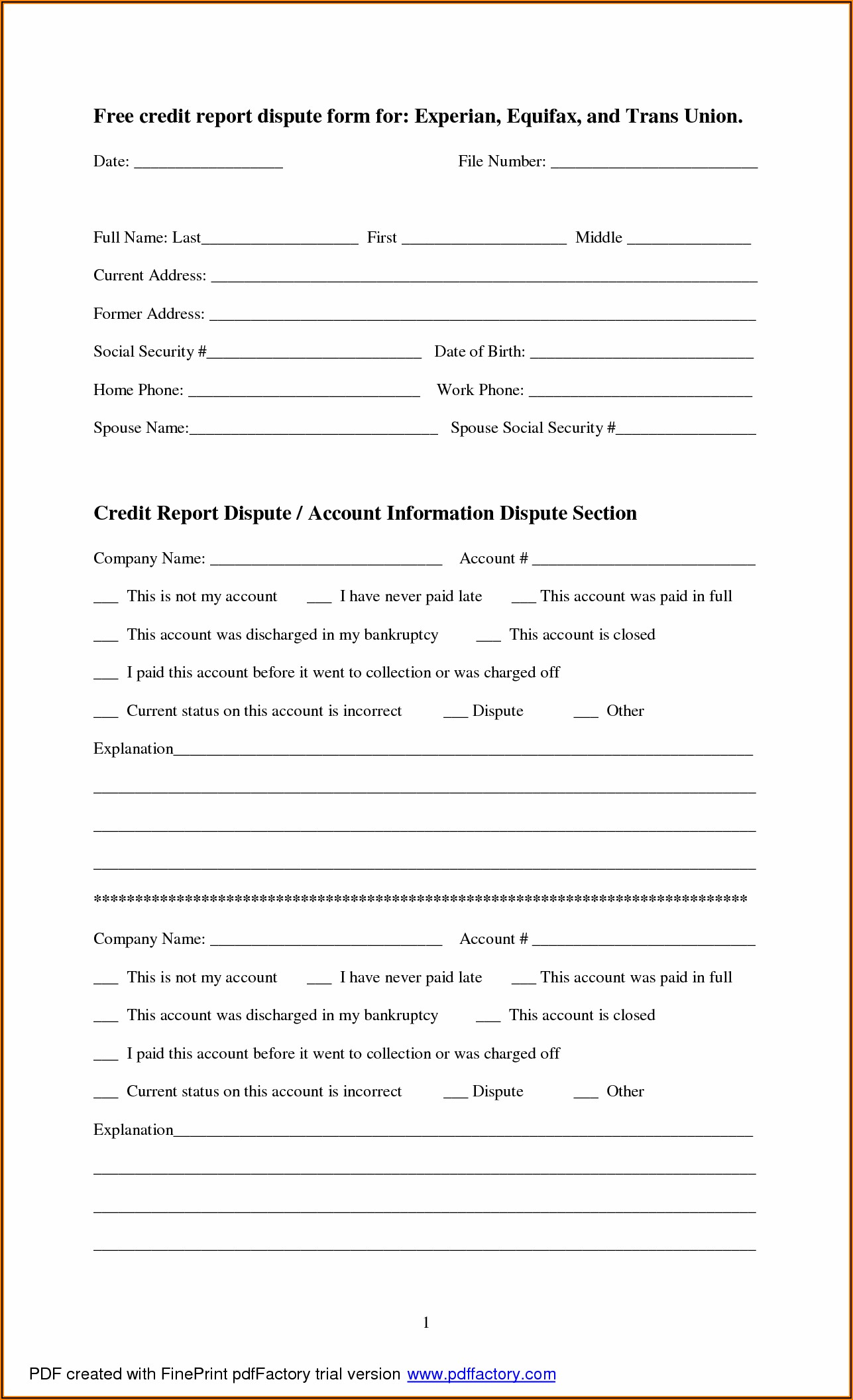Printable Dispute Form For Transunion
