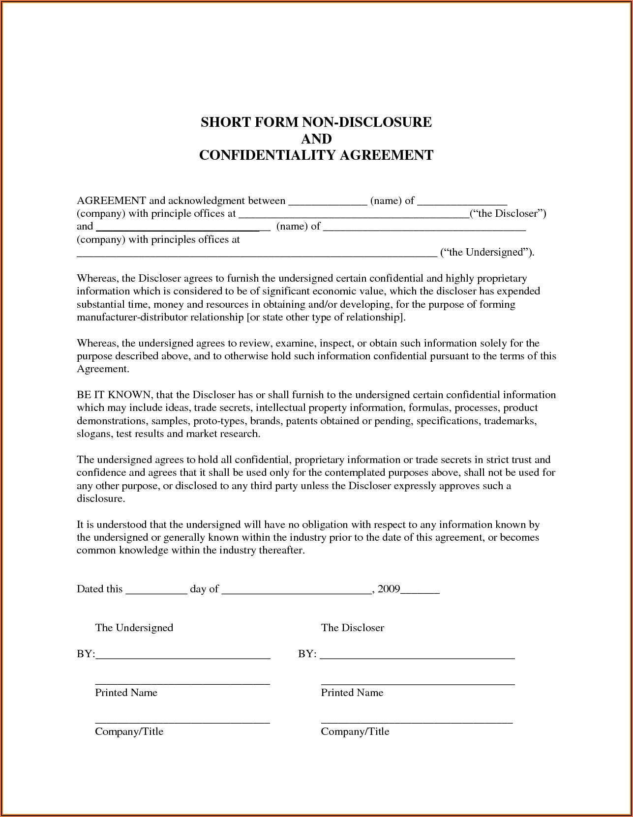 Printable Non Disclosure Agreement Template