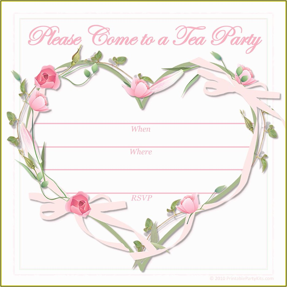 Printable Tea Party Invitations Template