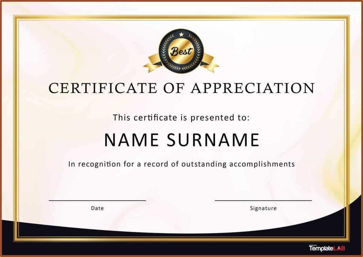 Professional Certificate Of Appreciation Templates Free