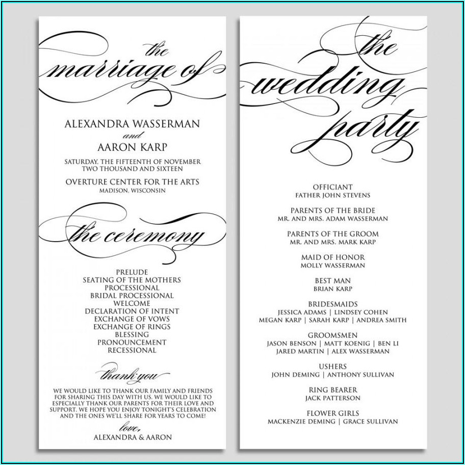 Programs For Wedding Templates