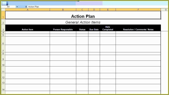 Project Action Plan Format Excel