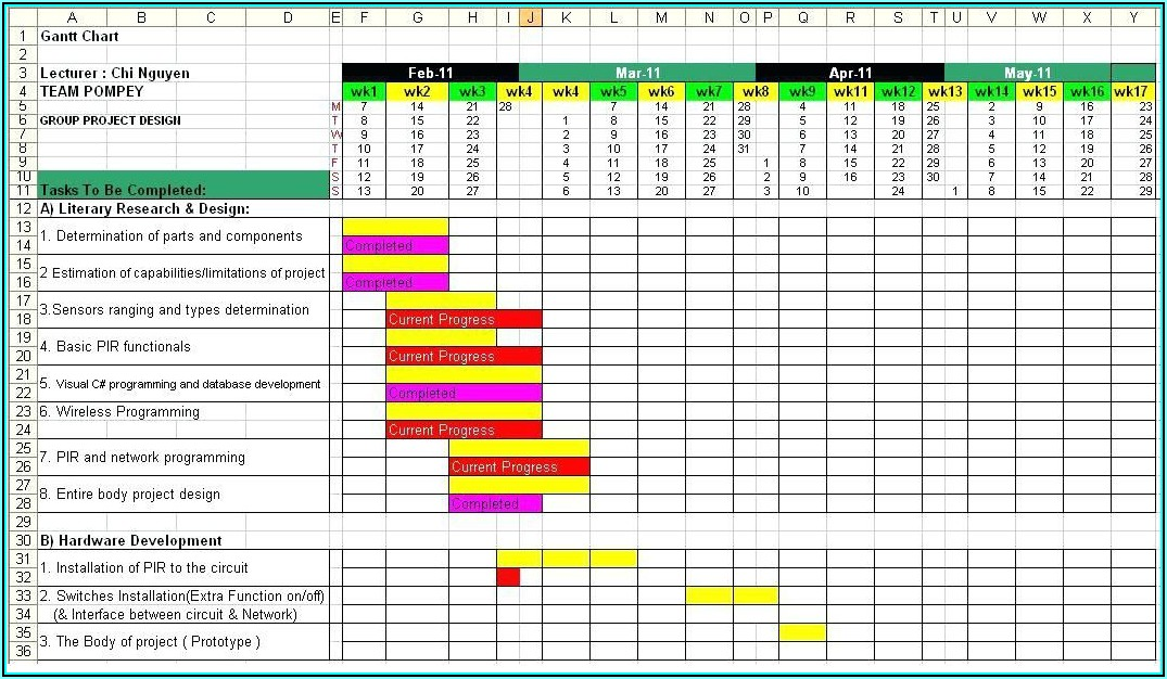 Project Timeline Gantt Chart Excel Template