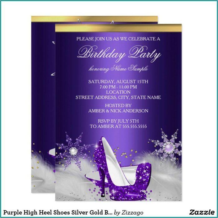 Purple And Silver Birthday Invitation Template
