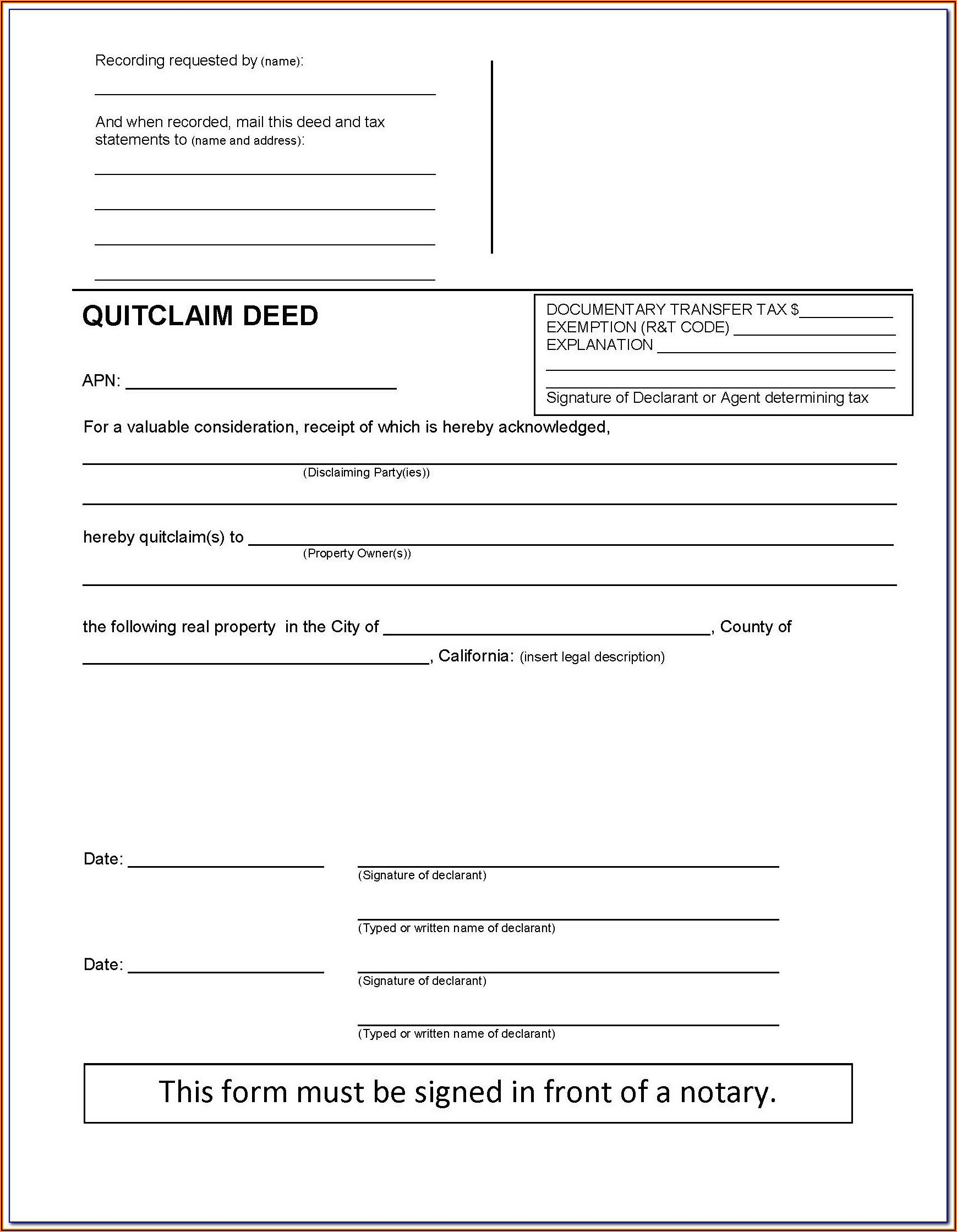 Quitclaim Deed Template California