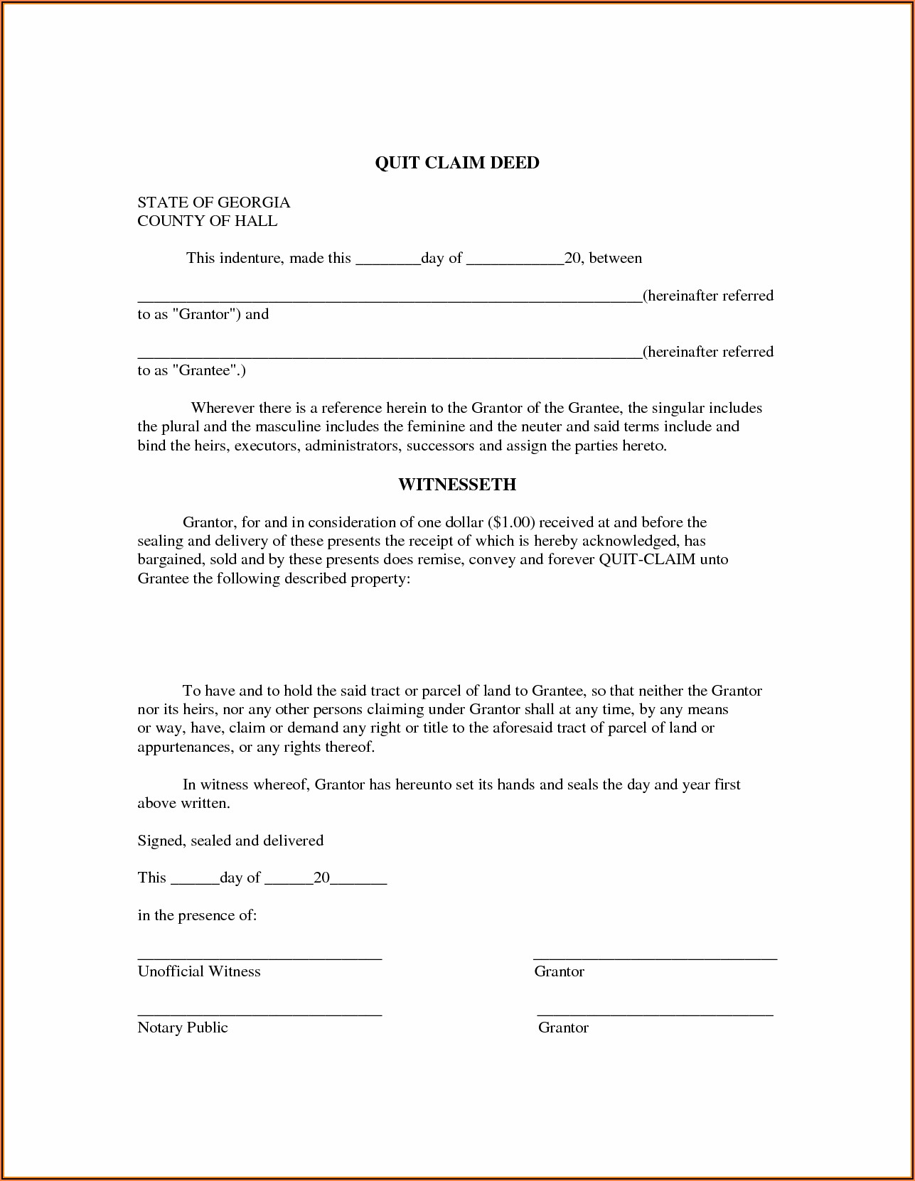 Quitclaim Deed Template Georgia