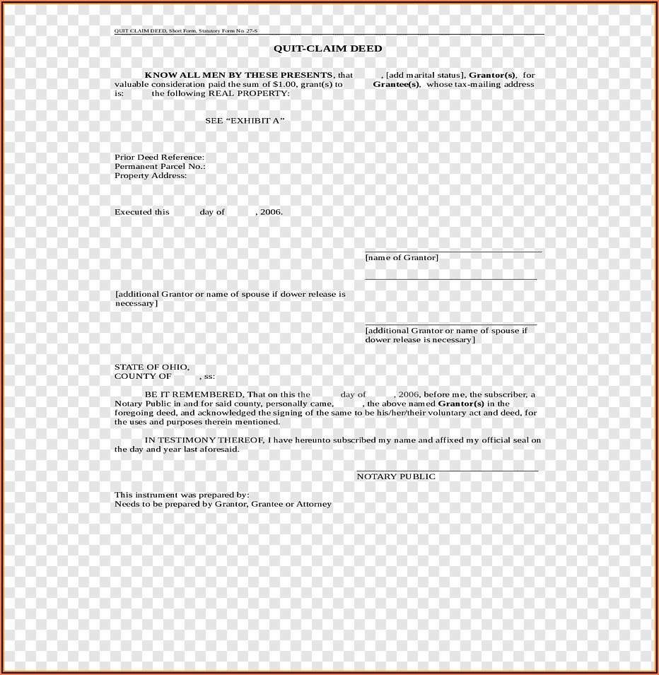 Quitclaim Deed Template Ohio