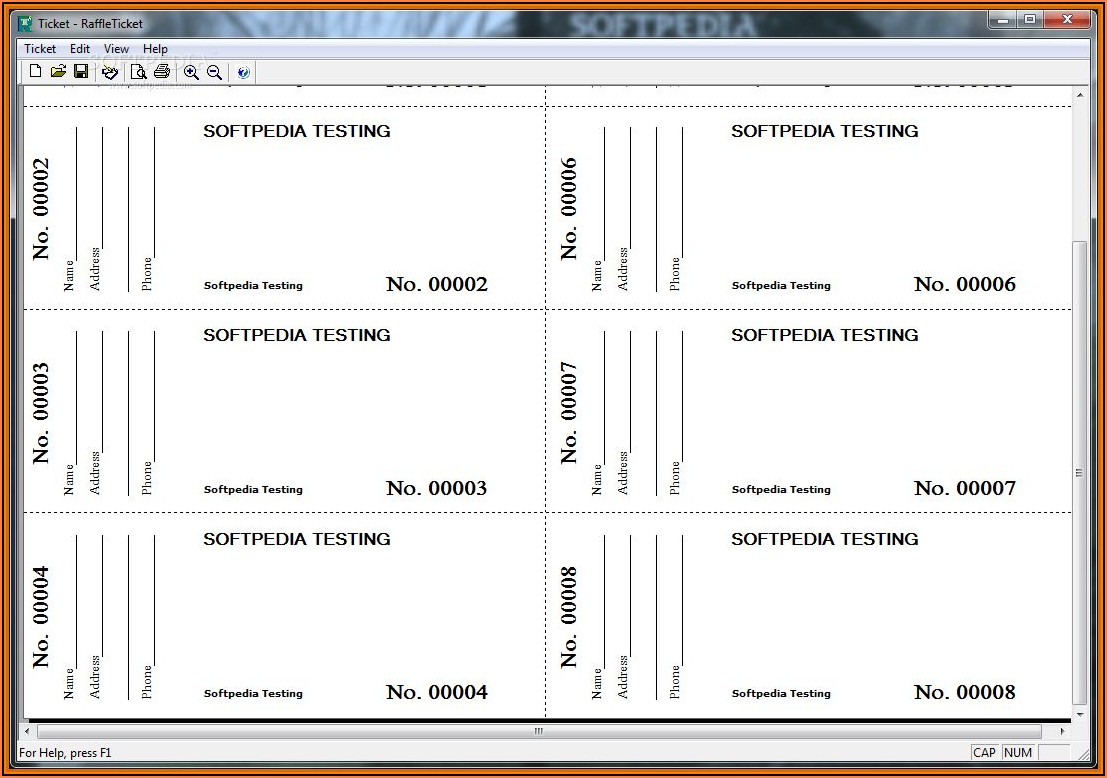 Raffle Ticket Template Free Excel