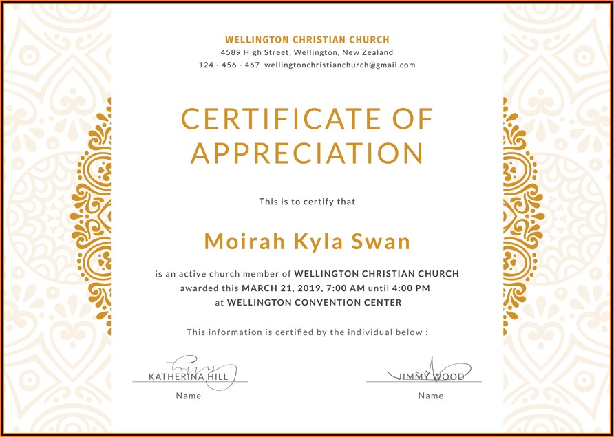 Religious Certificate Of Appreciation Template
