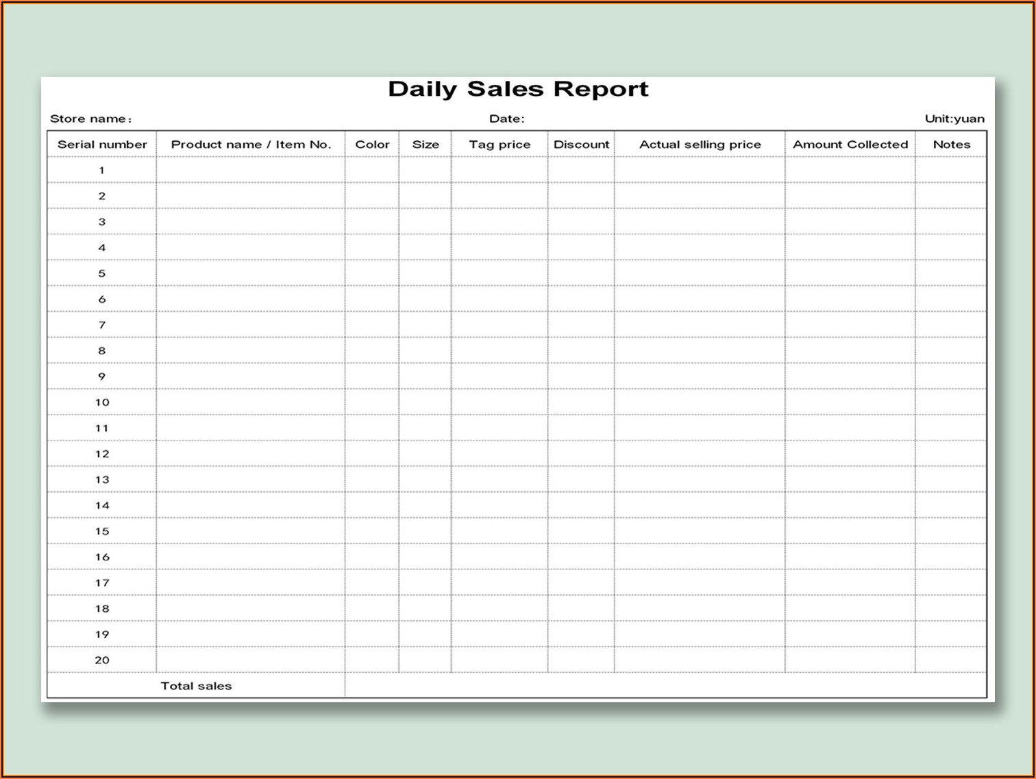 Restaurant Daily Sales Report Templates