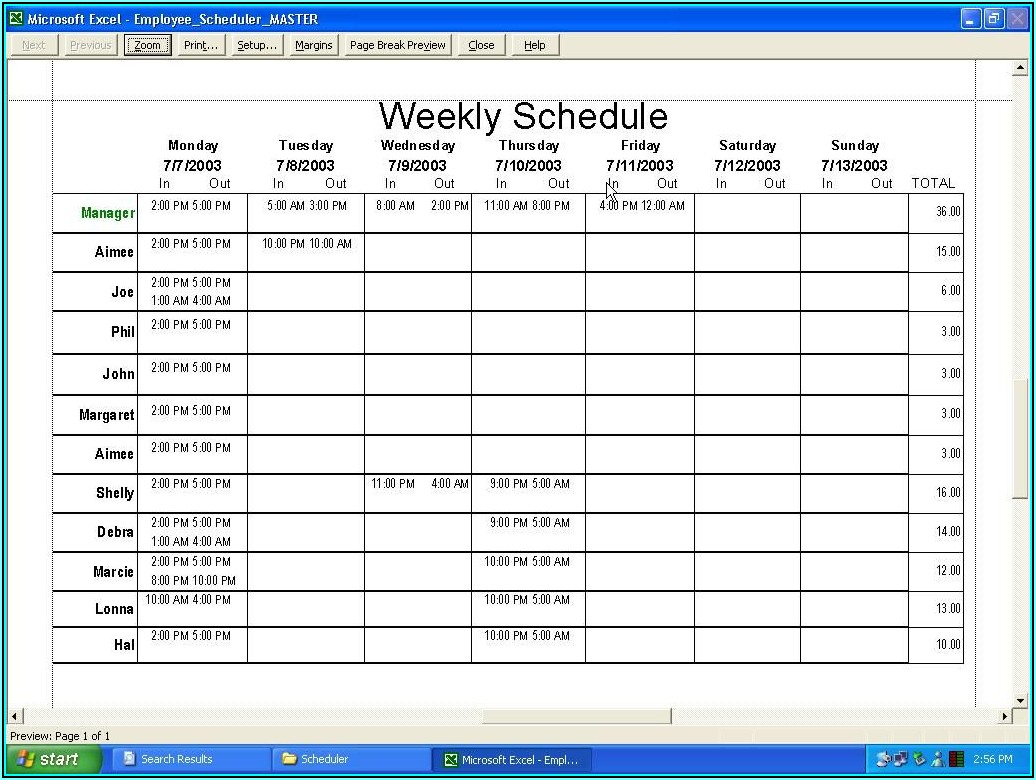 Restaurant Staff Scheduling Template