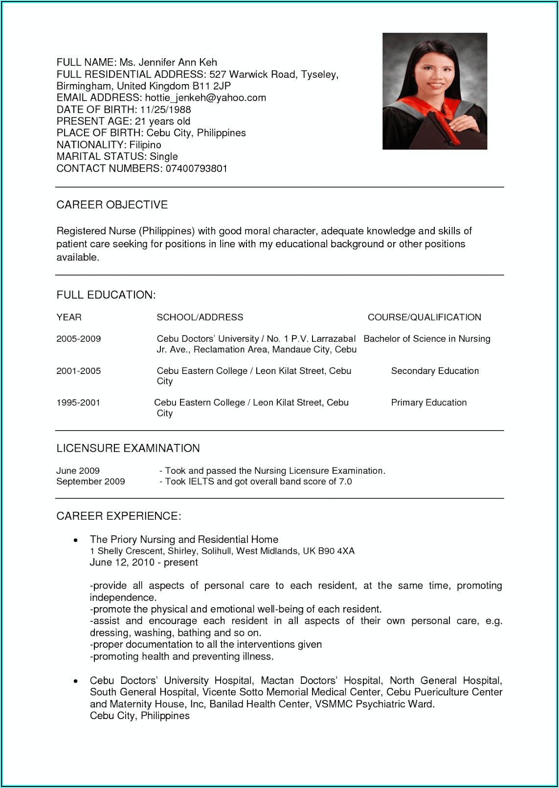 Resume Example For Nurses