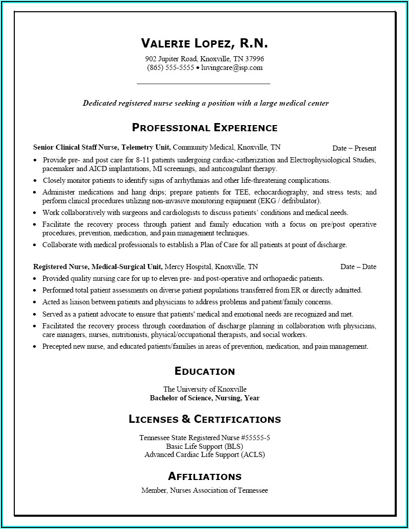Resume Examples For Nurses With No Experience