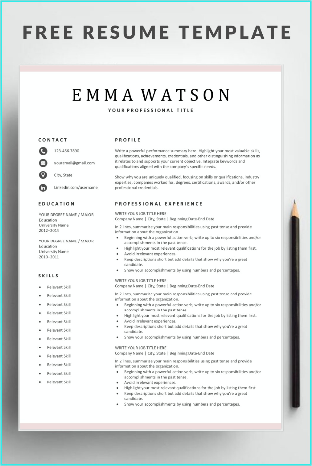 Resume Template Free Download Word Simple