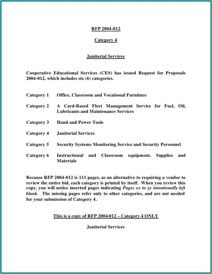Rfp For Cleaning Services Template