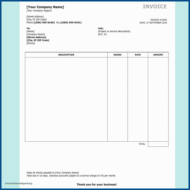 Sales Commission Invoice Template
