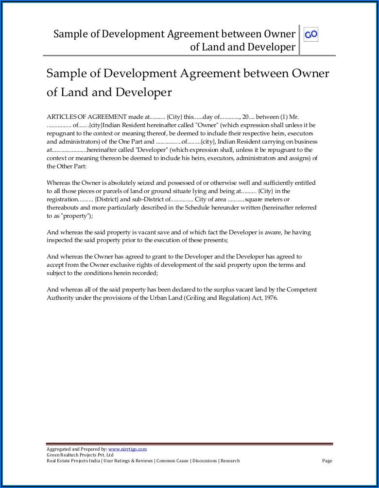 Sample Joint Venture Agreement Between Landowner And Developer Pdf