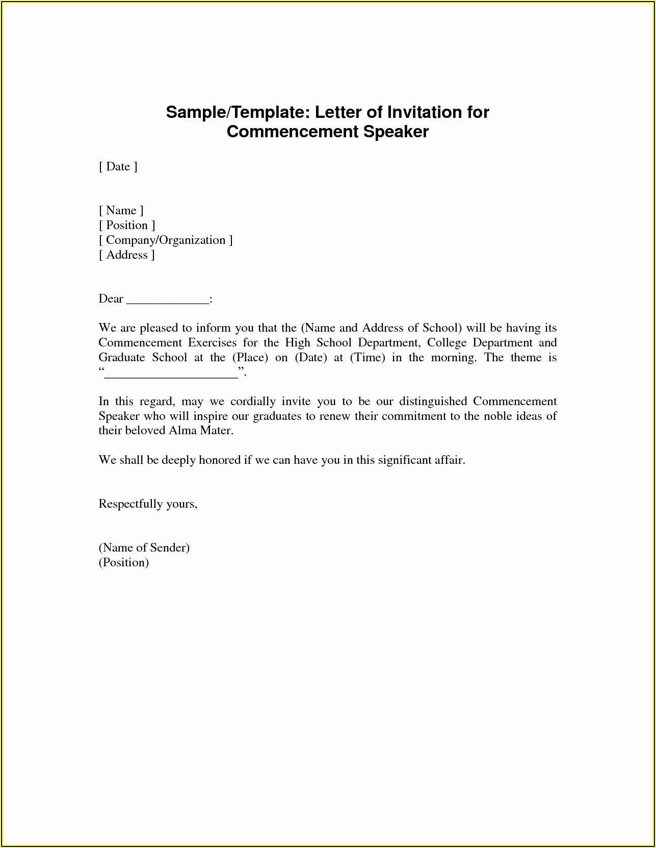 School Open House Invitation Letter Sample