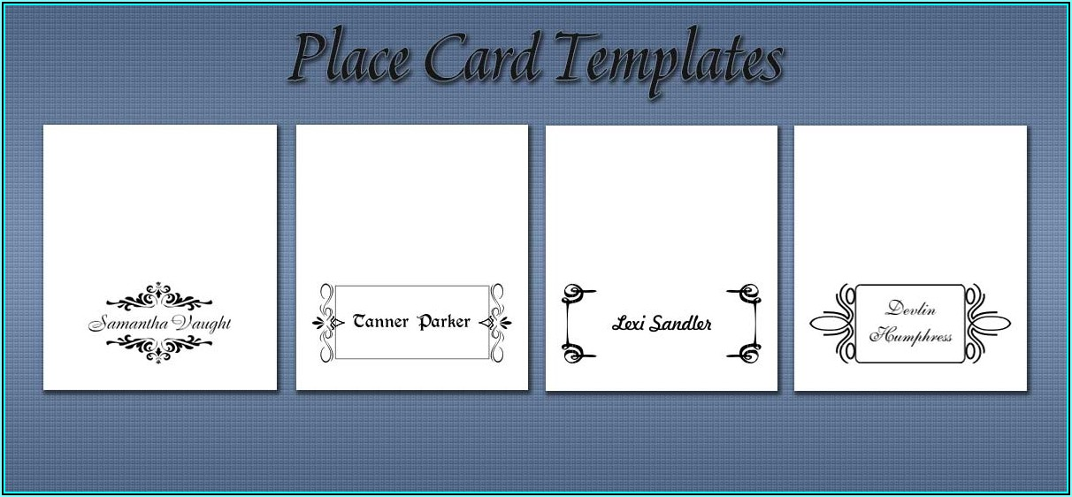 Seating Cards Template Word