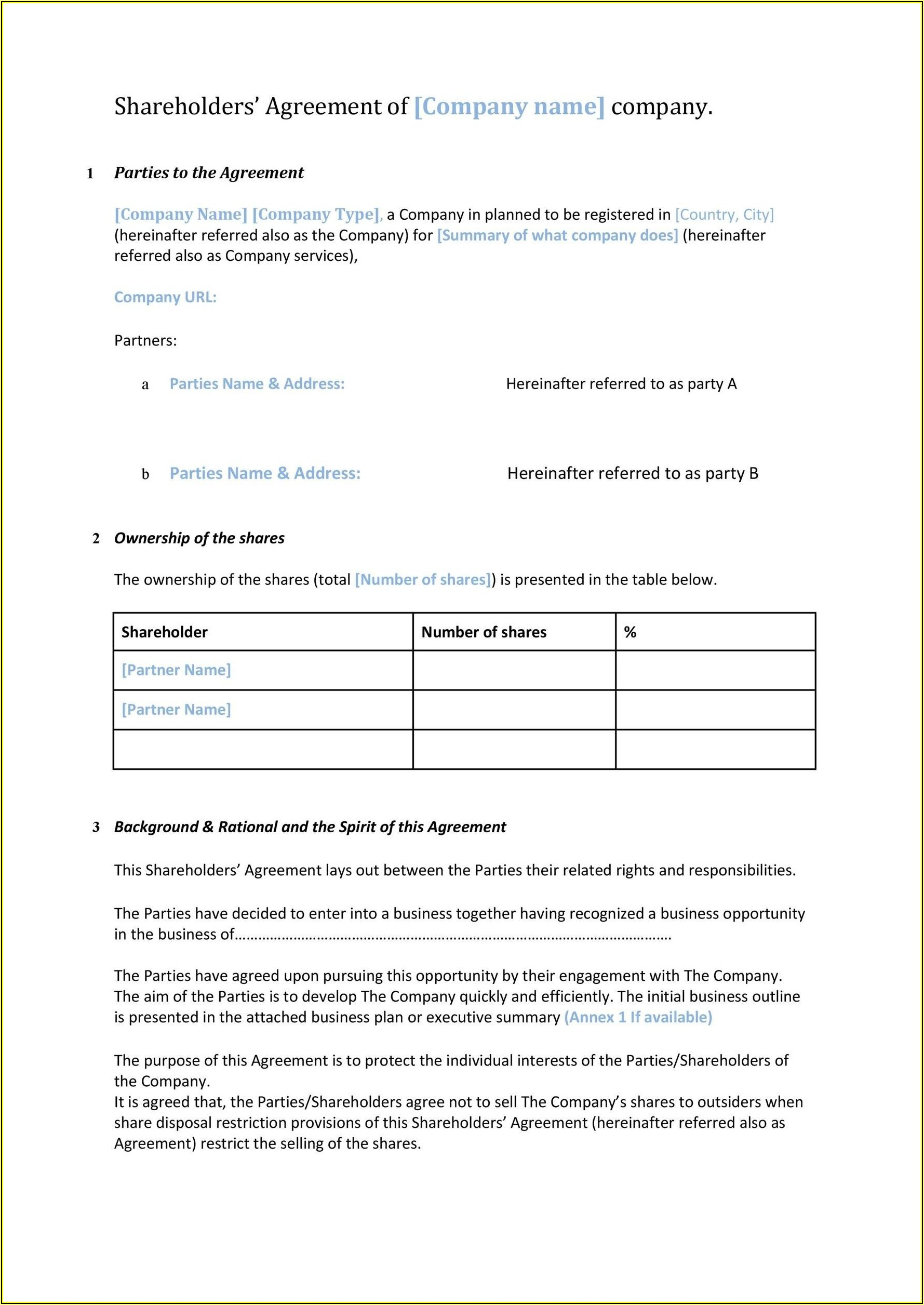 Shareholder Agreements Template