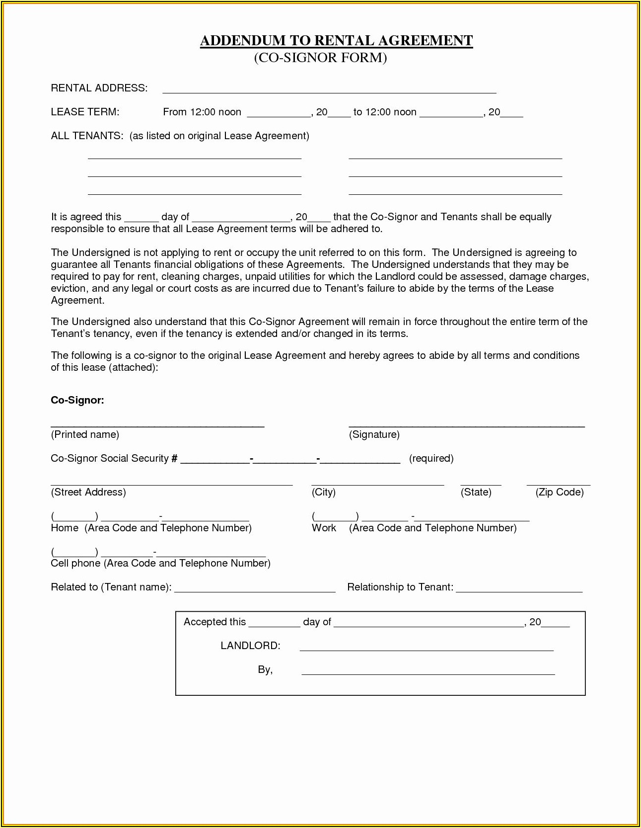 Simple Lease Agreement Template Free