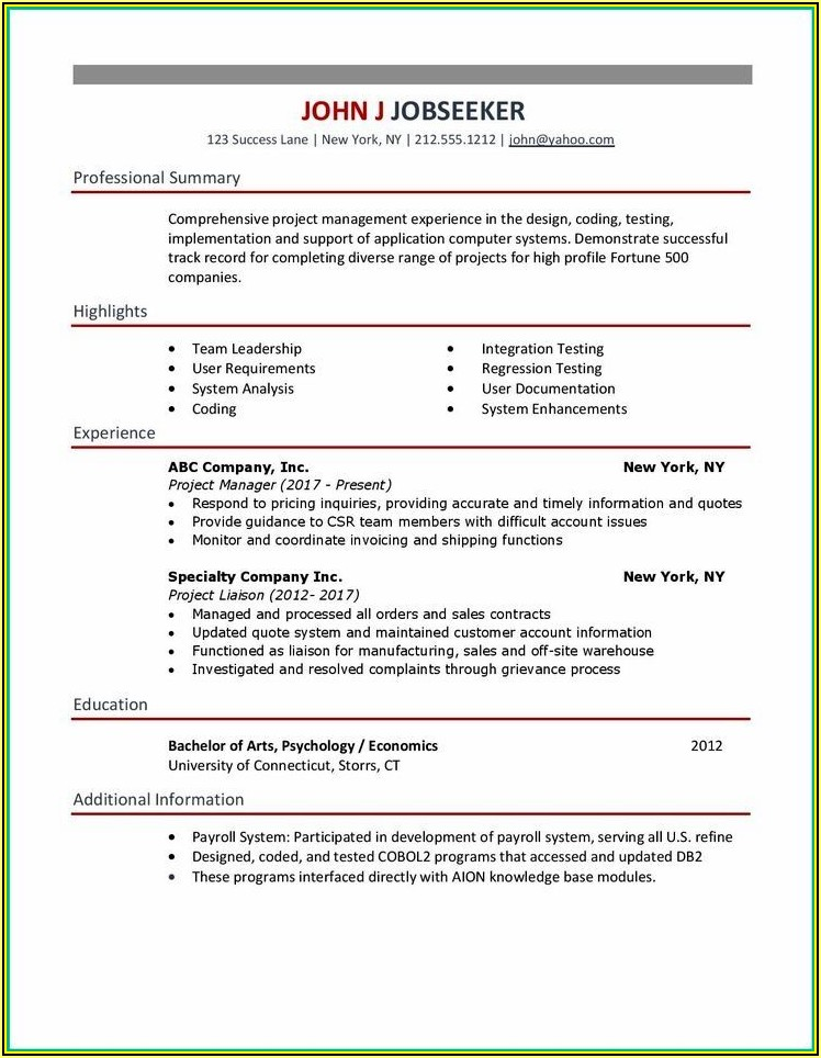 Simple Resume Examples Download