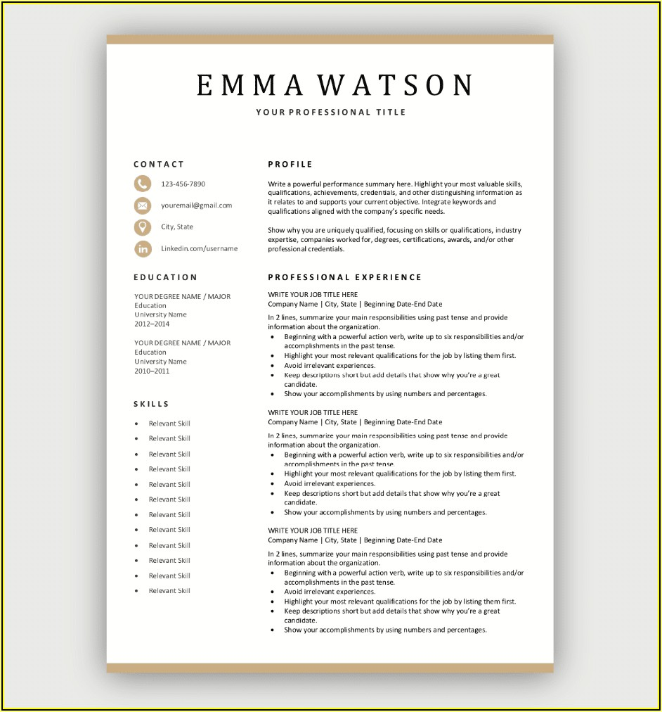 Simple Resume Templates Download