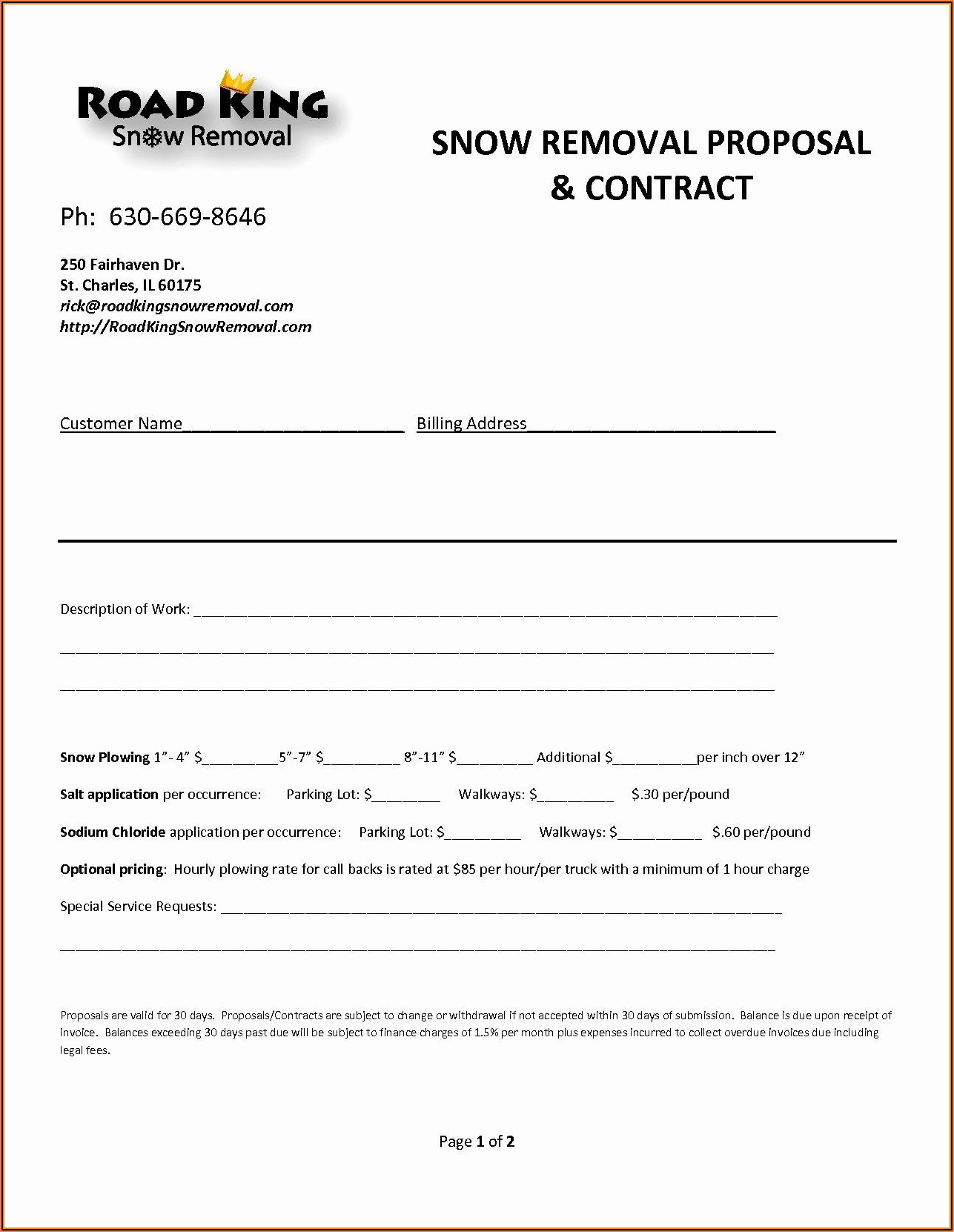 Snow Removal Invoice Form
