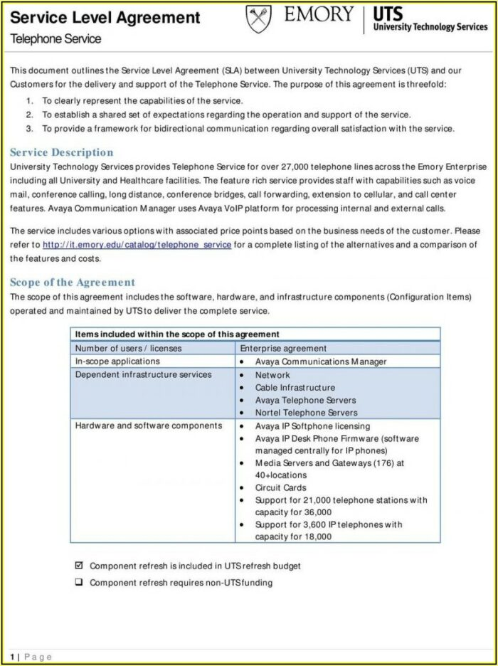 Software Sla Agreement Template