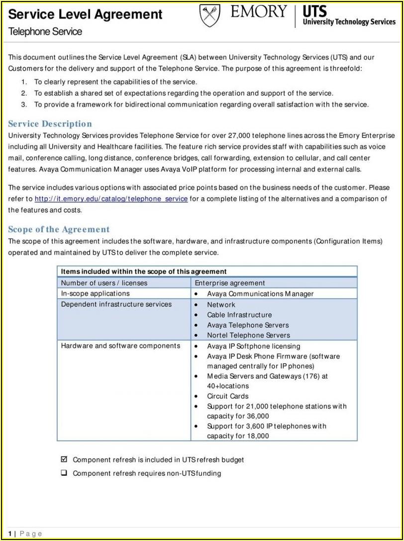 Software Sla Agreement Template