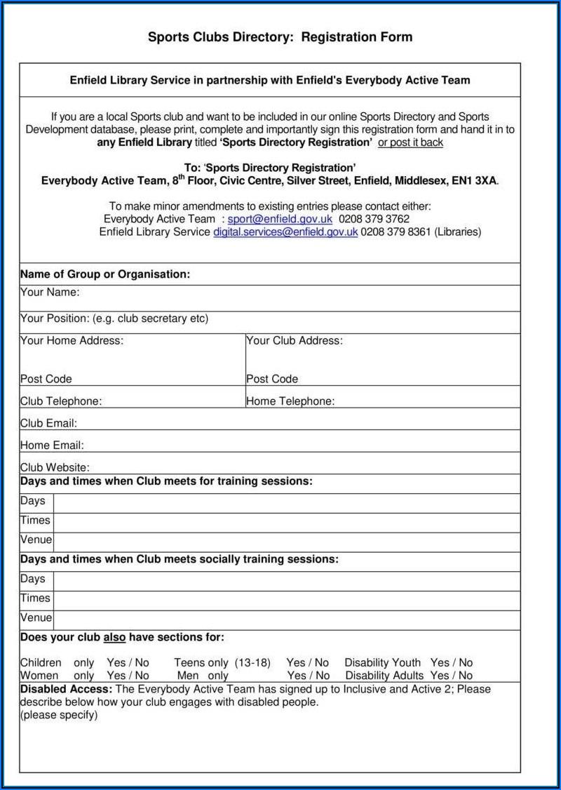Sports Camp Registration Form Template