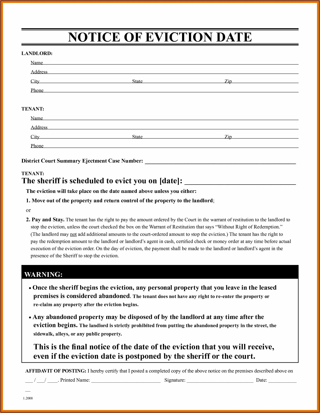 Standard Eviction Notice Template