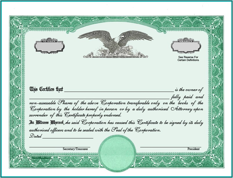 Stock Certificate Template California