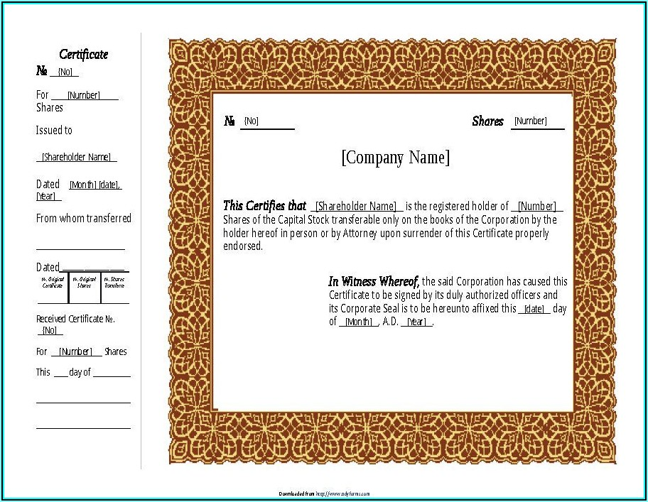 Stock Certificate Template Doc