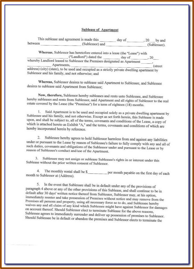 Sub Lease Deed Format