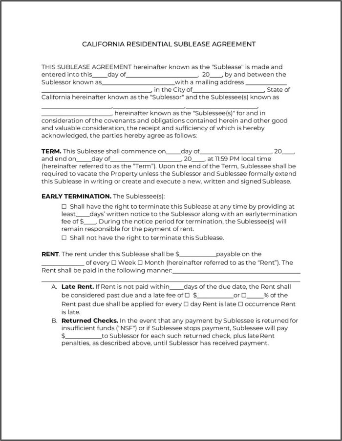 Sublease Form Ca