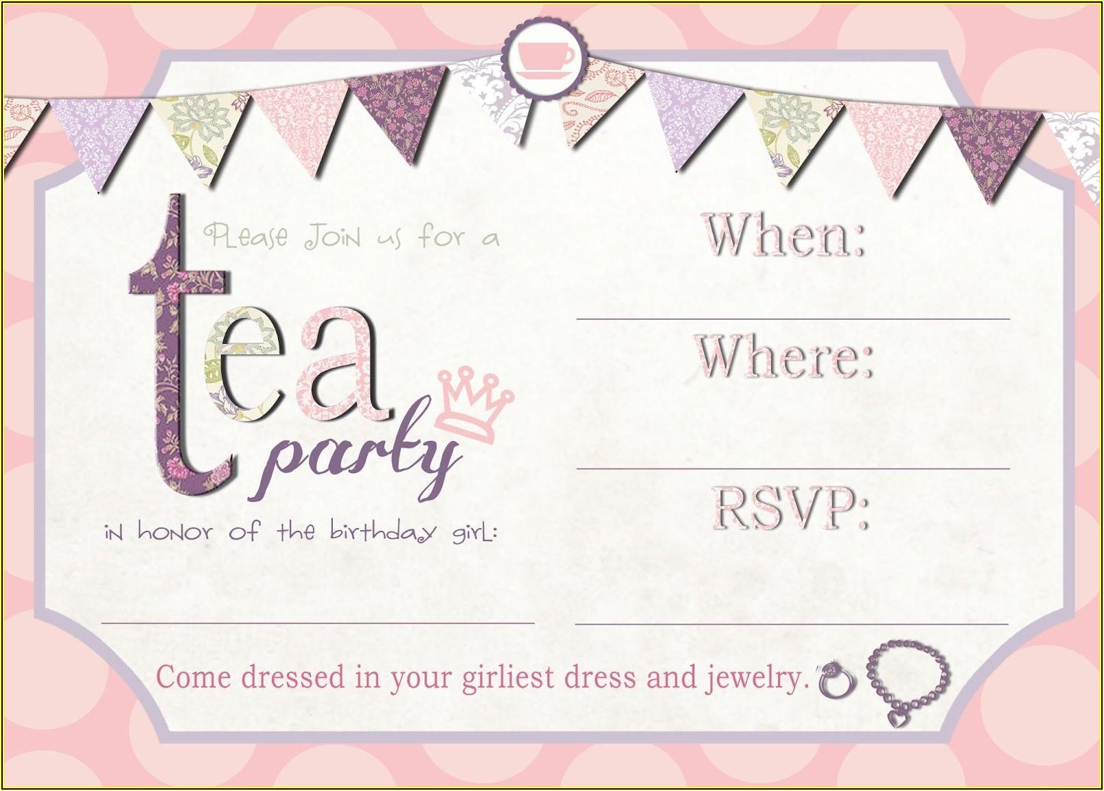 Tea Party Invitations Printable