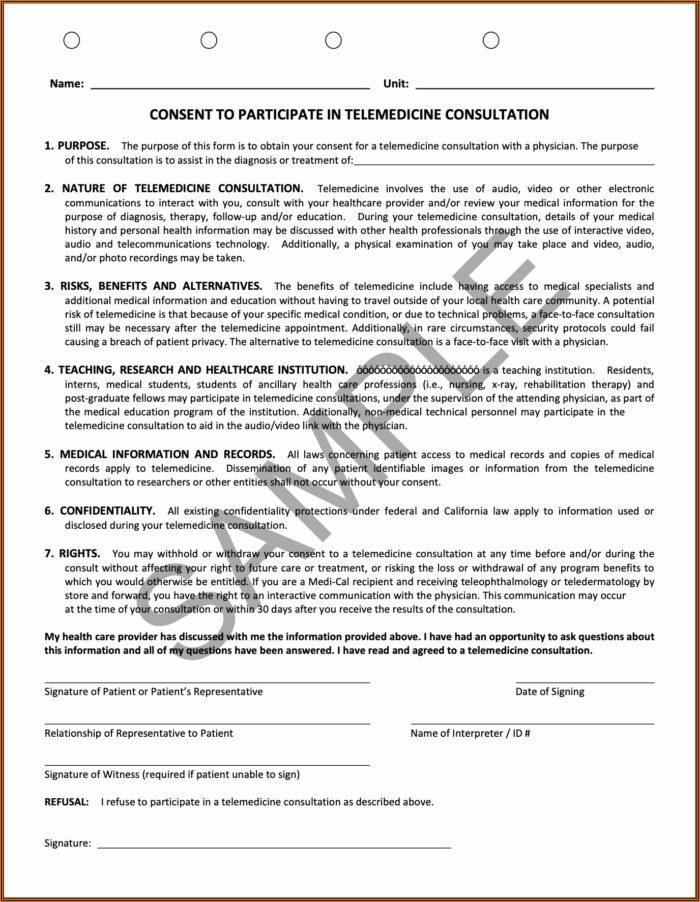 Telemedicine Consent Form California