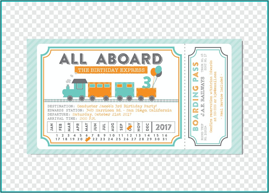 Train Party Invitation Template
