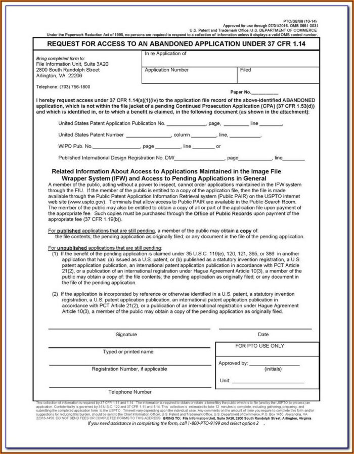 Uspto Provisional Patent Application Forms