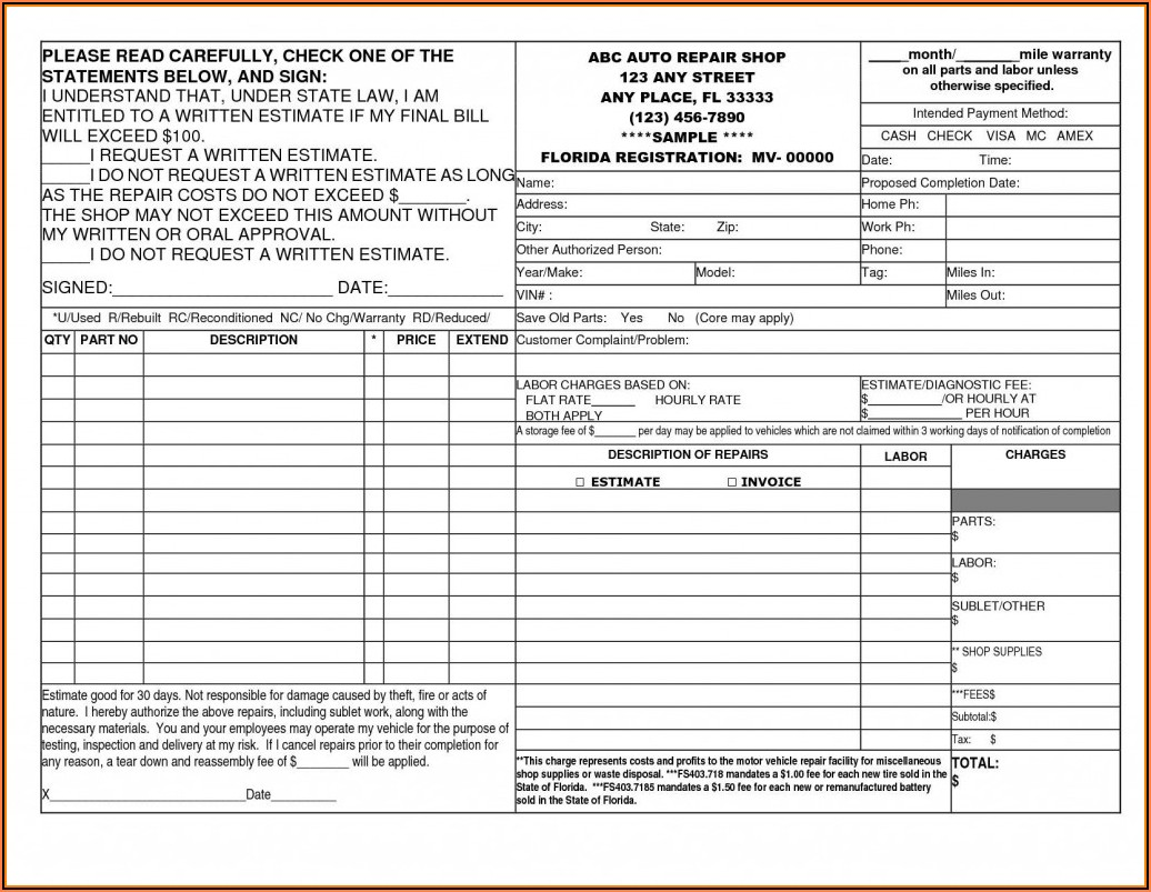 Vehicle Work Order Template Pdf
