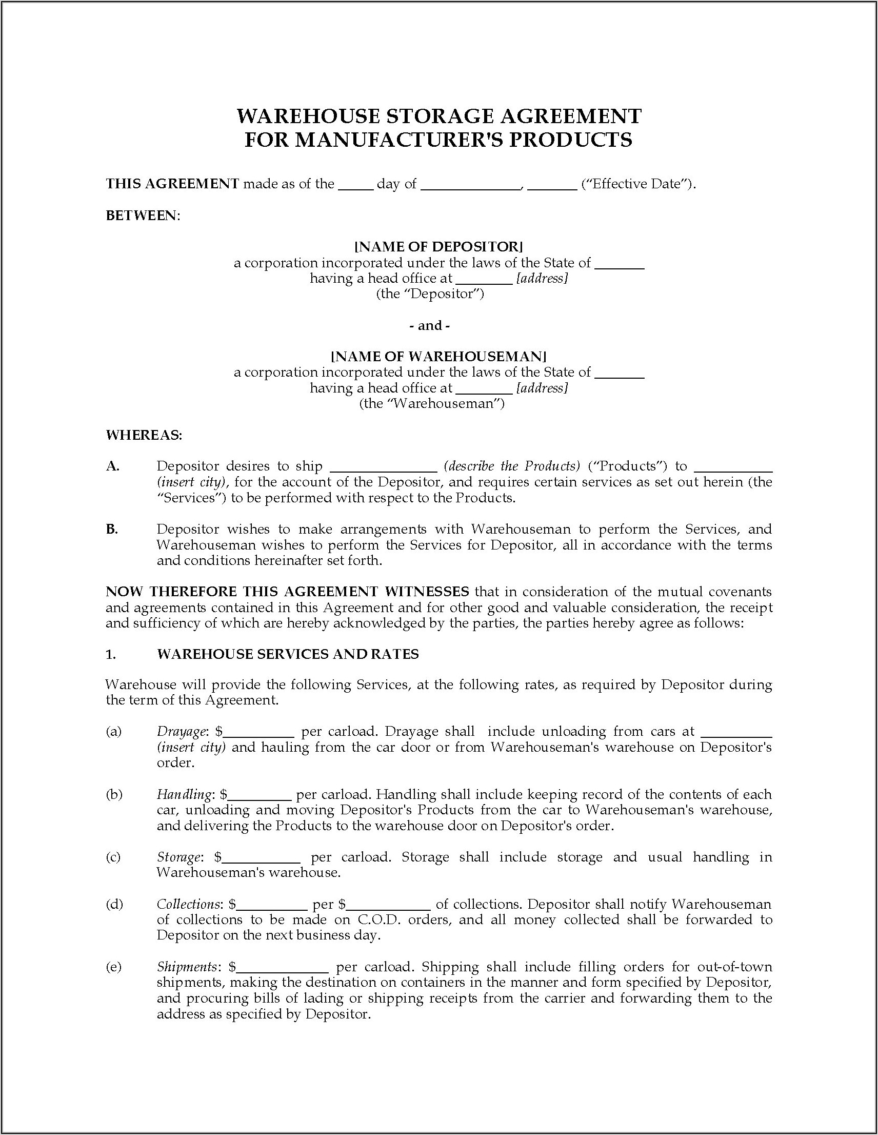 Warehouse Services Agreement Template