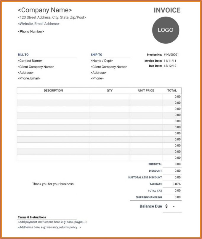 Web Design Invoice Template Excel