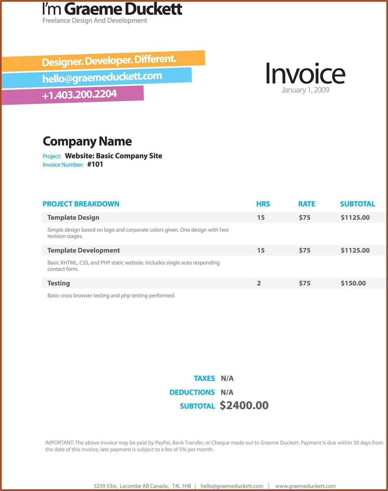 Web Developer Invoice Example