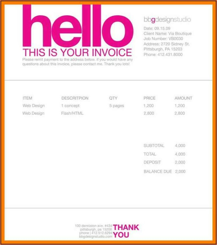 Web Developer Invoice Template